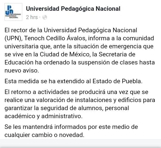 Suspensión de clases en UPN